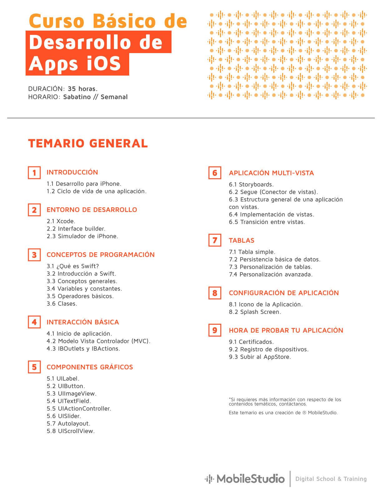 Curso de iOS básico temario