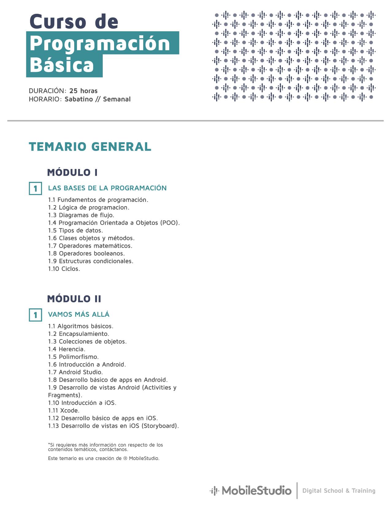 Temario curso de programación básica